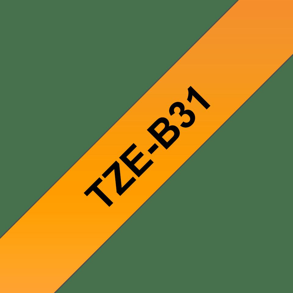 Casetă cu bandă de etichete originală Brother TZe-B31 – negru pe portocaliu fluorescent, lățime de 12mm 3