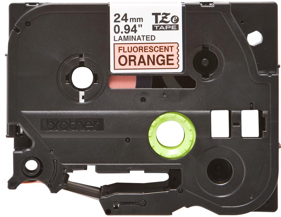 Casetă cu bandă de etichete originală Brother TZe-B51 – negru pe portocaliu fluoresncet, lățime de 24mm