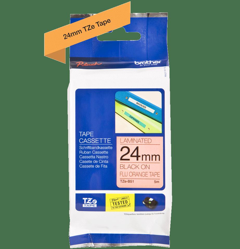 Casetă cu bandă de etichete originală Brother TZe-B51 – negru pe portocaliu fluoresncet, lățime de 24mm 2