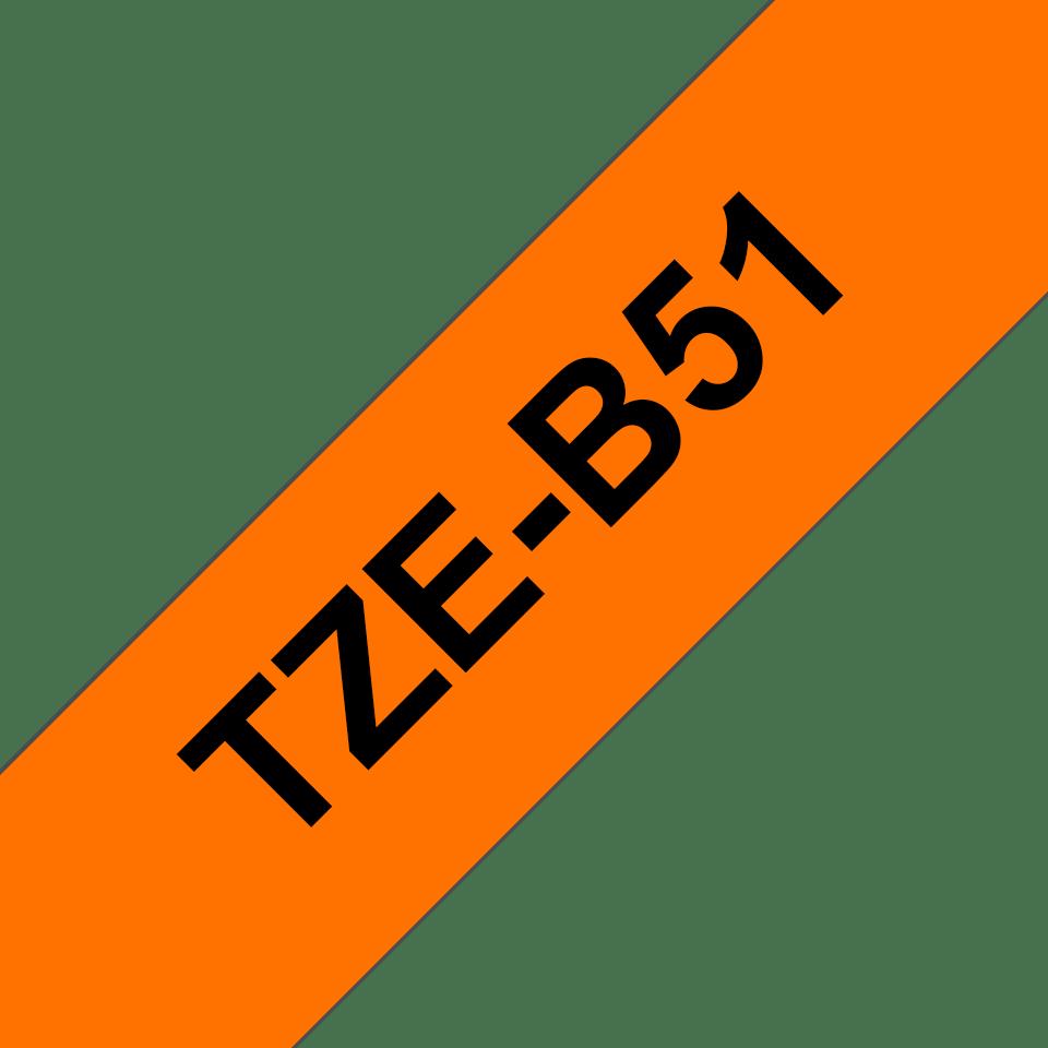 Casetă cu bandă de etichete originală Brother TZe-B51 – negru pe portocaliu fluoresncet, lățime de 24mm 3