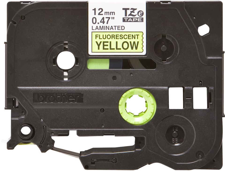 Casetă cu bandă de etichete originală Brother TZe-C31 – negru pe galben fluorescent, lățime de 12mm
