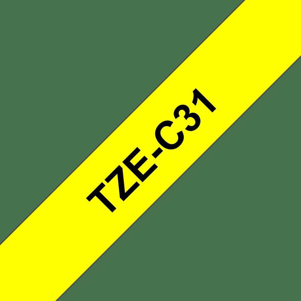 Casetă cu bandă de etichete originală Brother TZe-C31 – negru pe galben fluorescent, lățime de 12mm 3