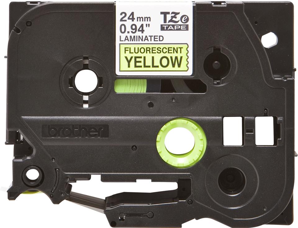 Casetă cu bandă de etichete originală Brother TZe-C51 – negru pe galben fluorescent, lățime de 24mm