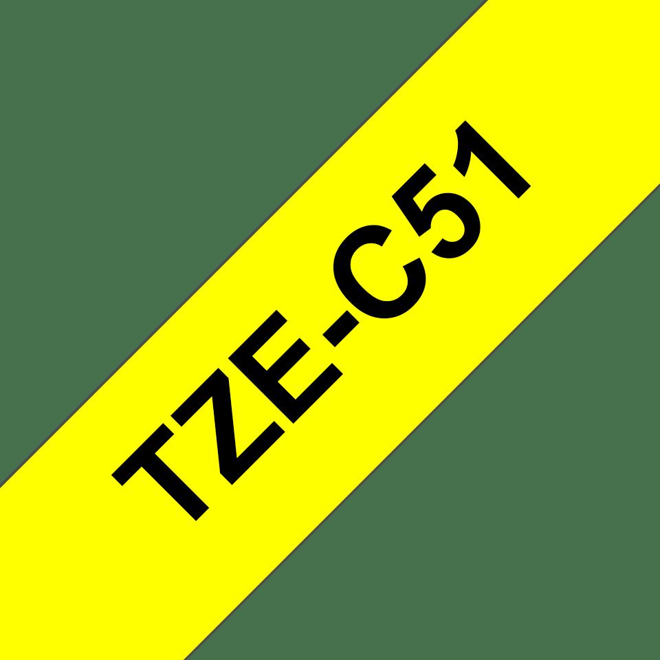Casetă cu bandă de etichete originală Brother TZe-C51 – negru pe galben fluorescent, lățime de 24mm 3