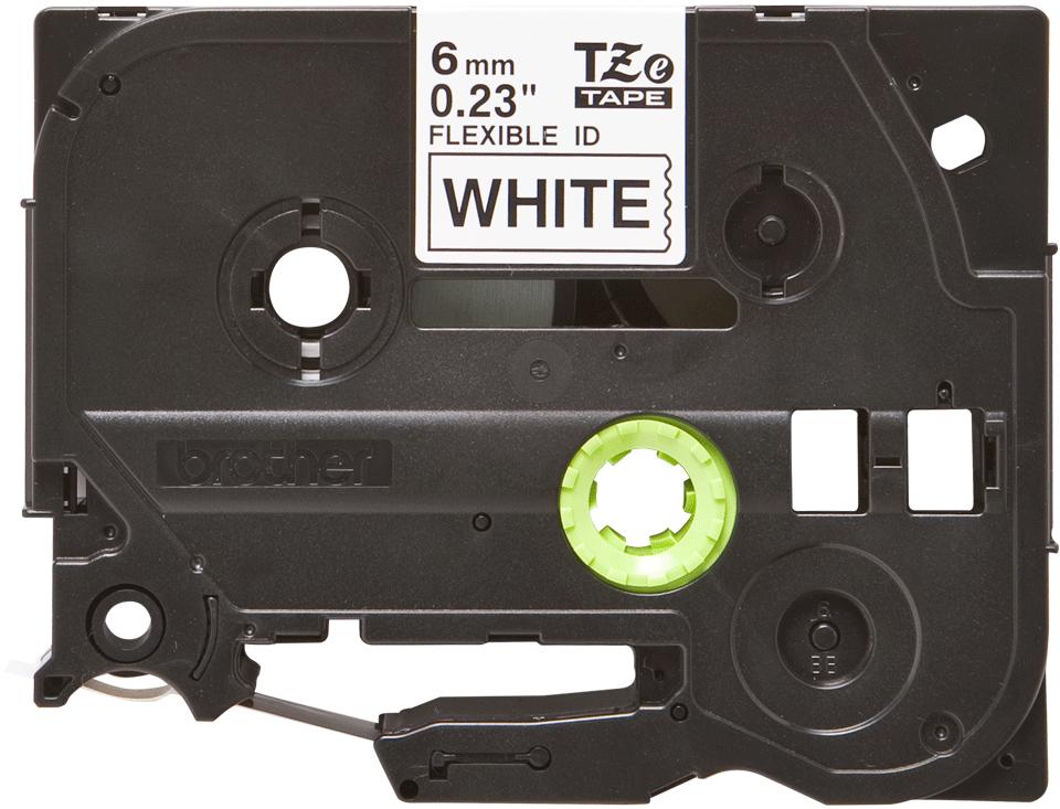 Casetă cu bandă de etichete originală Brother TZe-FX211 – negru pe alb, lățime de 6mm