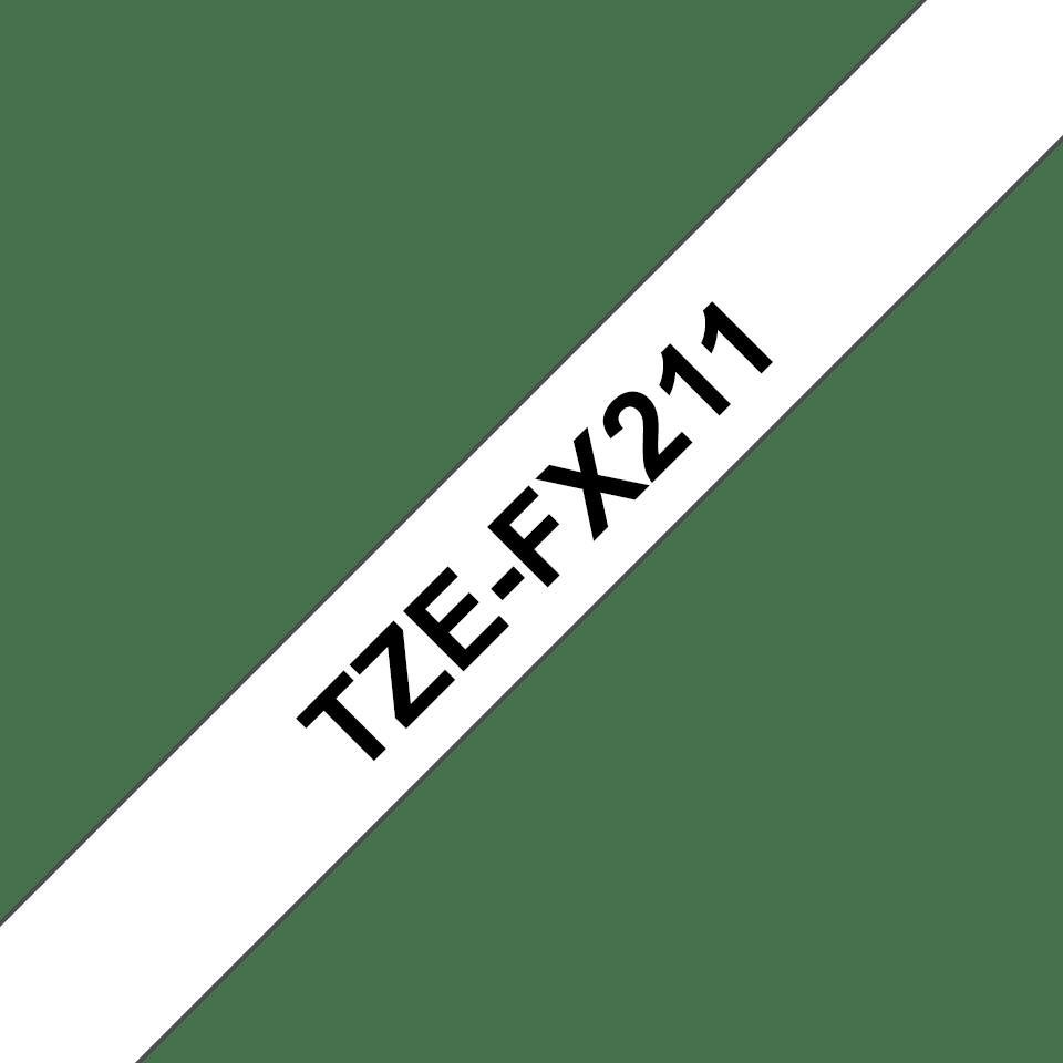 Casetă cu bandă de etichete originală Brother TZe-FX211 – negru pe alb, lățime de 6mm 3