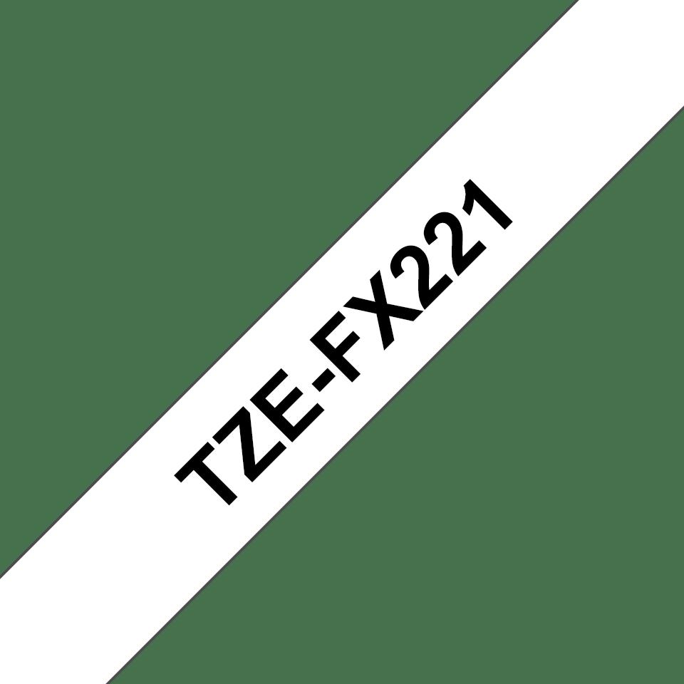 Casetă cu bandă de etichete originală Brother TZe-FX221 – negru pe alb, lățime de 9mm 3