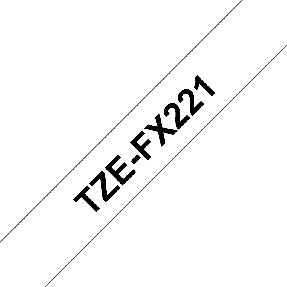 Casetă cu bandă de etichete originală Brother TZe-FX221 – negru pe alb, lățime de 9mm