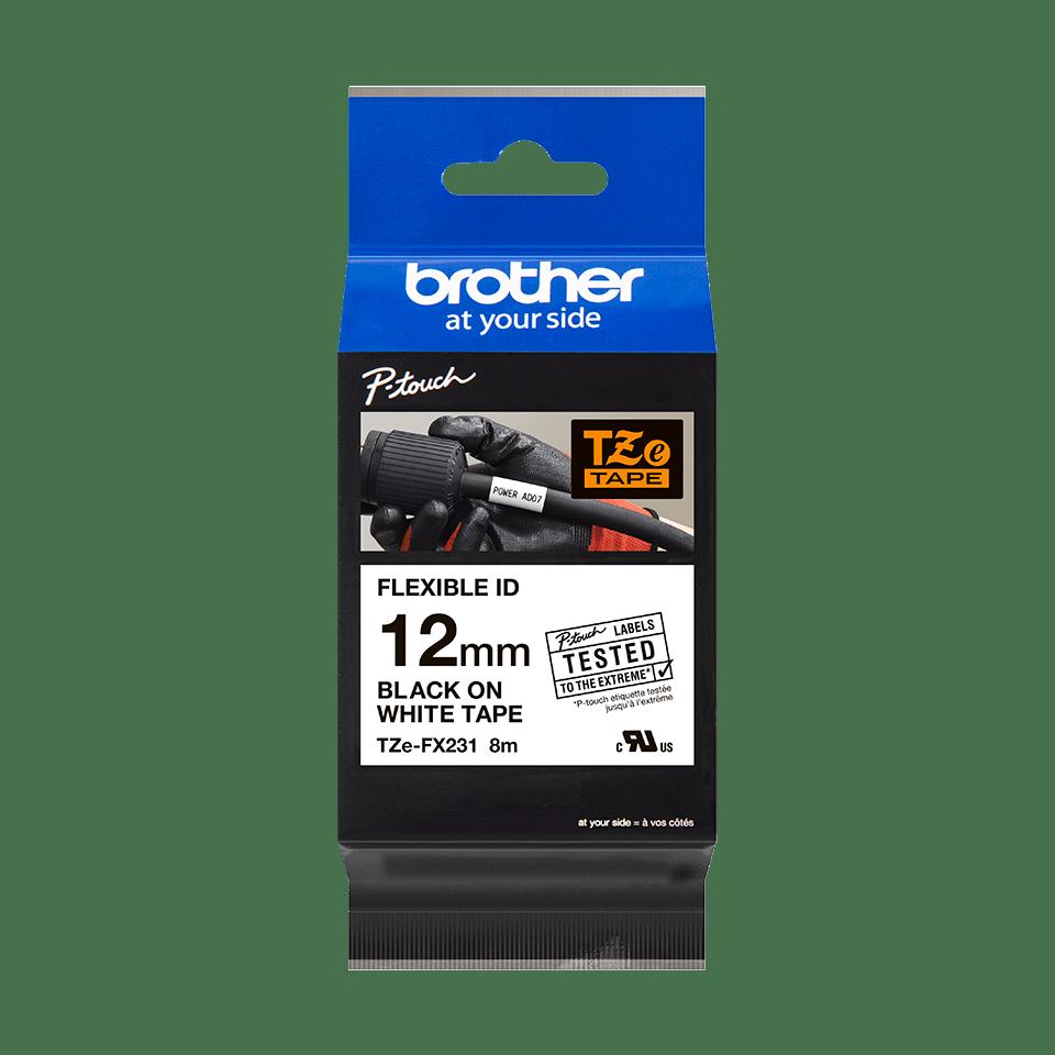 Casetă cu bandă de etichete originală Brother TZe-FX231 – negru pe alb flexibilă ID, lățime de 12mm 2