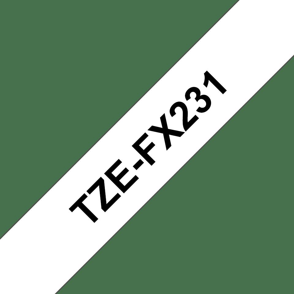 Casetă cu bandă de etichete originală Brother TZe-FX231 – negru pe alb flexibilă ID, lățime de 12mm 3