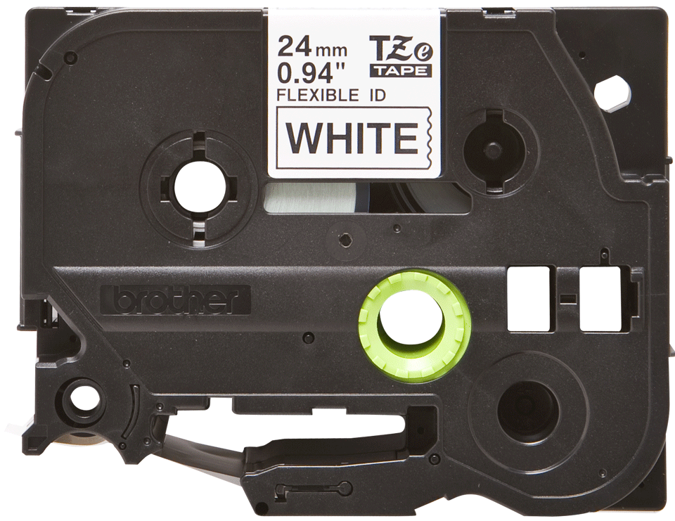 Casetă cu bandă de etichete originală Brother TZe-FX251 – negru pe alb, lățime de 24mm