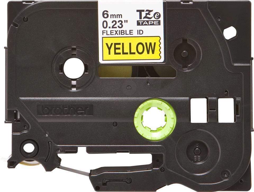 Casetă cu bandă de etichete originală Brother TZe-FX611 – negru pe galben flexibilă ID, lățime de 6mm