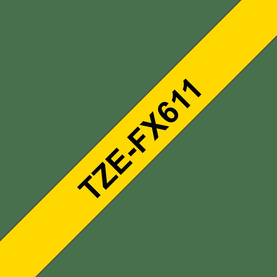 Casetă cu bandă de etichete originală Brother TZe-FX611 – negru pe galben flexibilă ID, lățime de 6mm 3