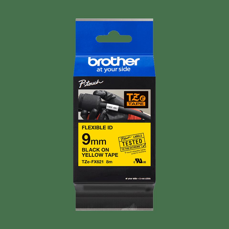 Casetă cu bandă de etichete originală Brother TZe-FX621 – negru pe galben flexibilă ID, lățime de 9mm 3