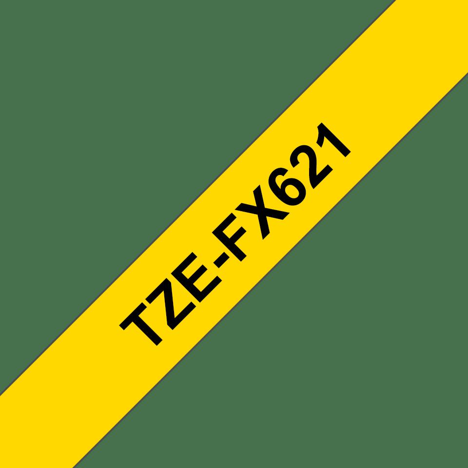 Casetă cu bandă de etichete originală Brother TZe-FX621 – negru pe galben flexibilă ID, lățime de 9mm