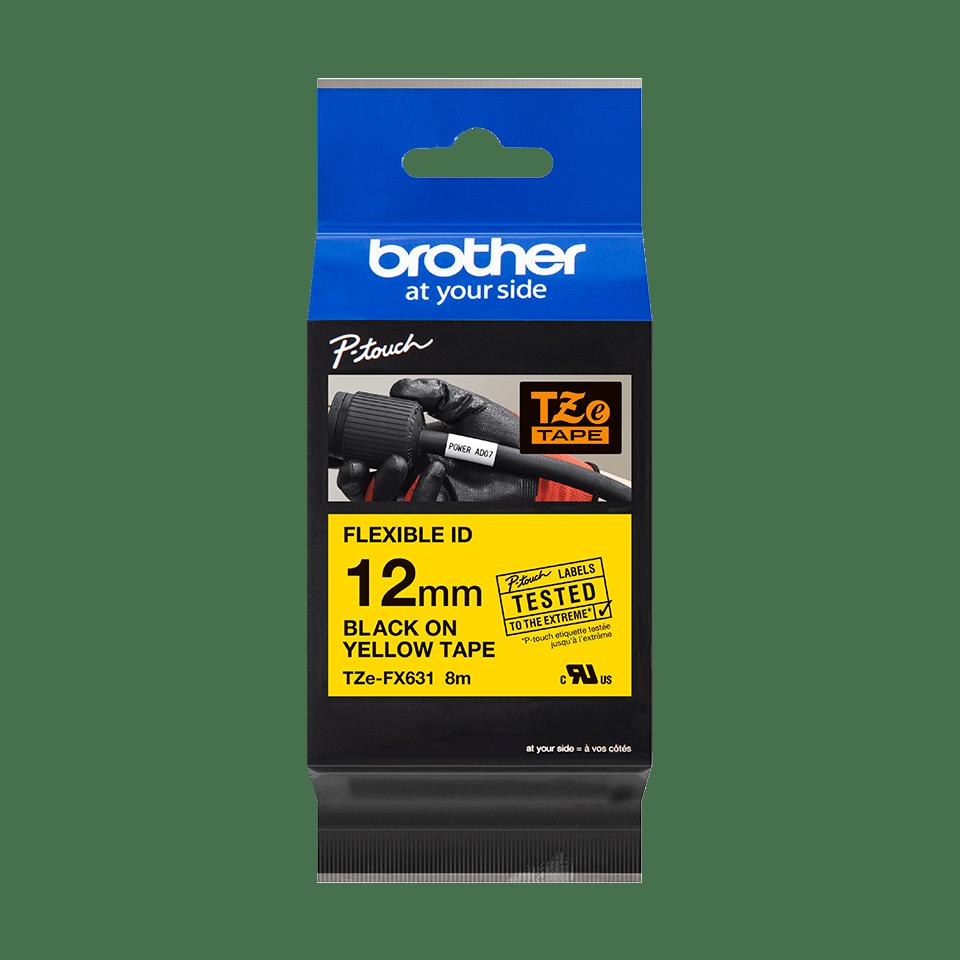 Casetă cu bandă de etichete originală Brother TZe-FX631 – negru pe galben, lățime de 12mm 2