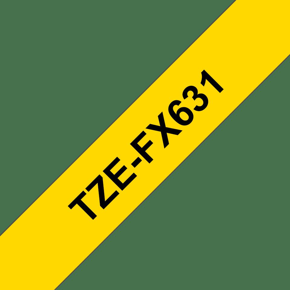 Casetă cu bandă de etichete originală Brother TZe-FX631 – negru pe galben, lățime de 12mm