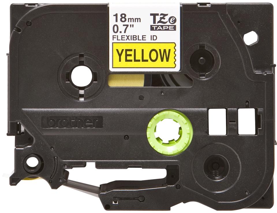 Casetă cu bandă de etichete originală Brother TZe-FX641 – negru pe galben flexibilă ID, lățime de 18mm