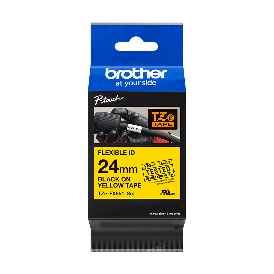 Bandă de etichete originală Brother TZe-FX651 – negru pe galben flexibilă ID, lățime de 24mm 2