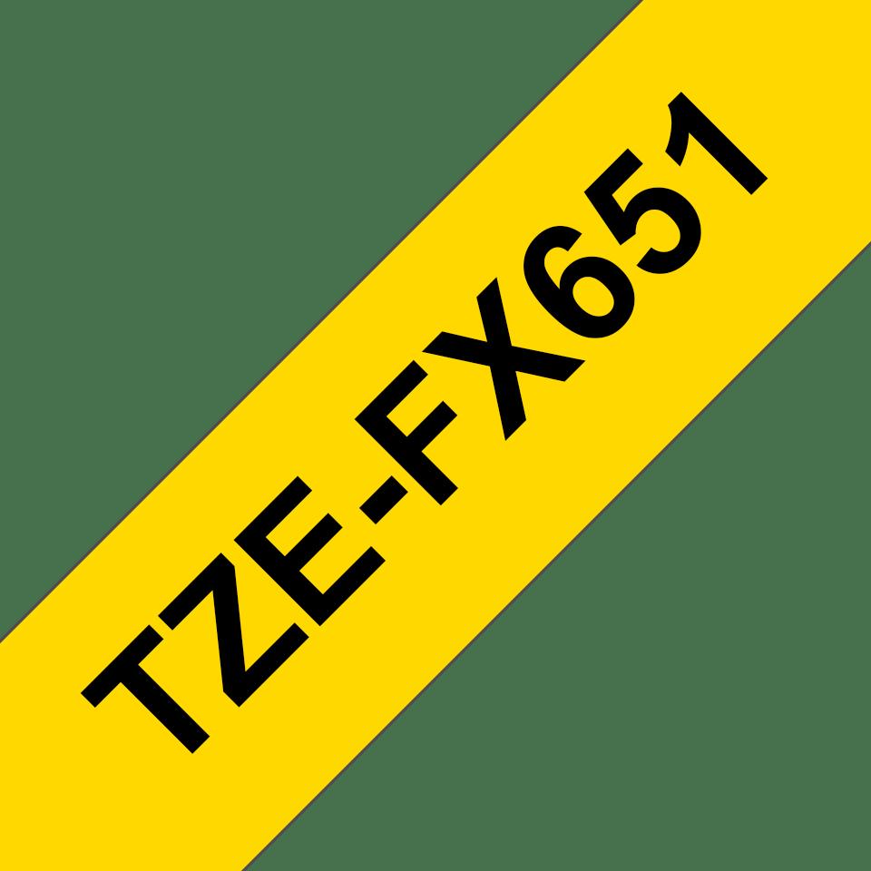 Bandă de etichete originală Brother TZe-FX651 – negru pe galben flexibilă ID, lățime de 24mm