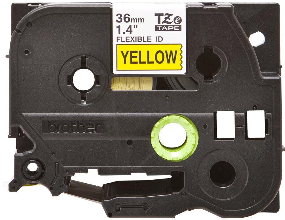Casetă cu bandă de etichete originală Brother TZe-FX661 – negru pe galben flexibilă ID, lățime de 36mm