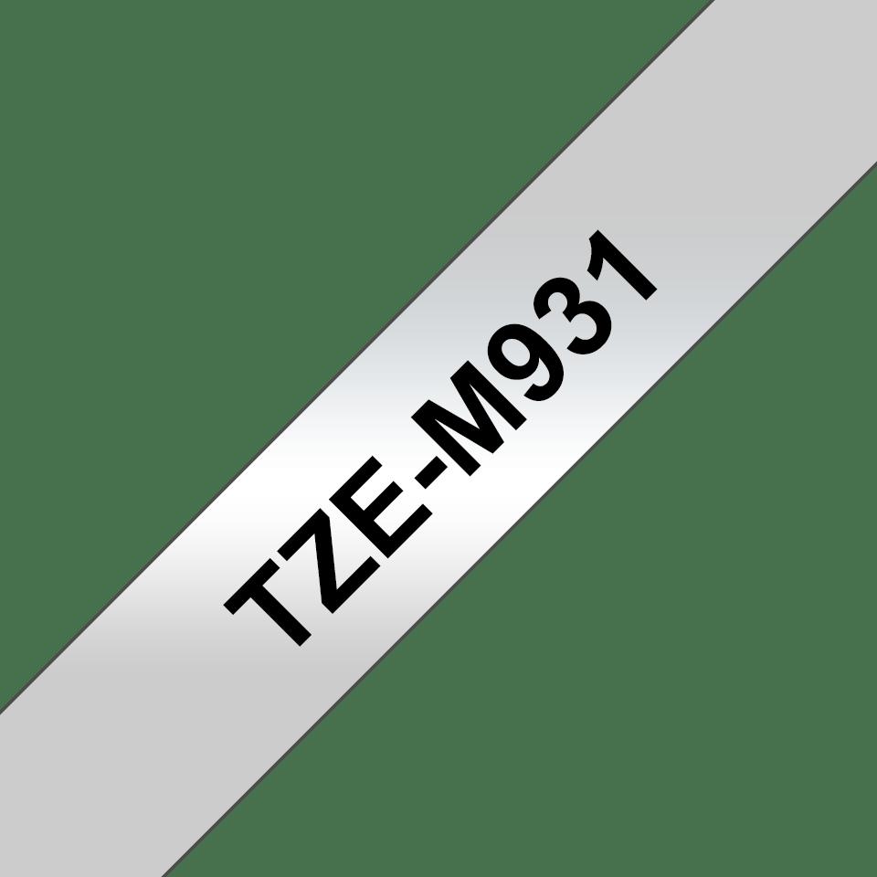 Casetă cu bandă de etichete originală Brother TZe-M931 – negru pe argintiu, lățime de 12mm 3