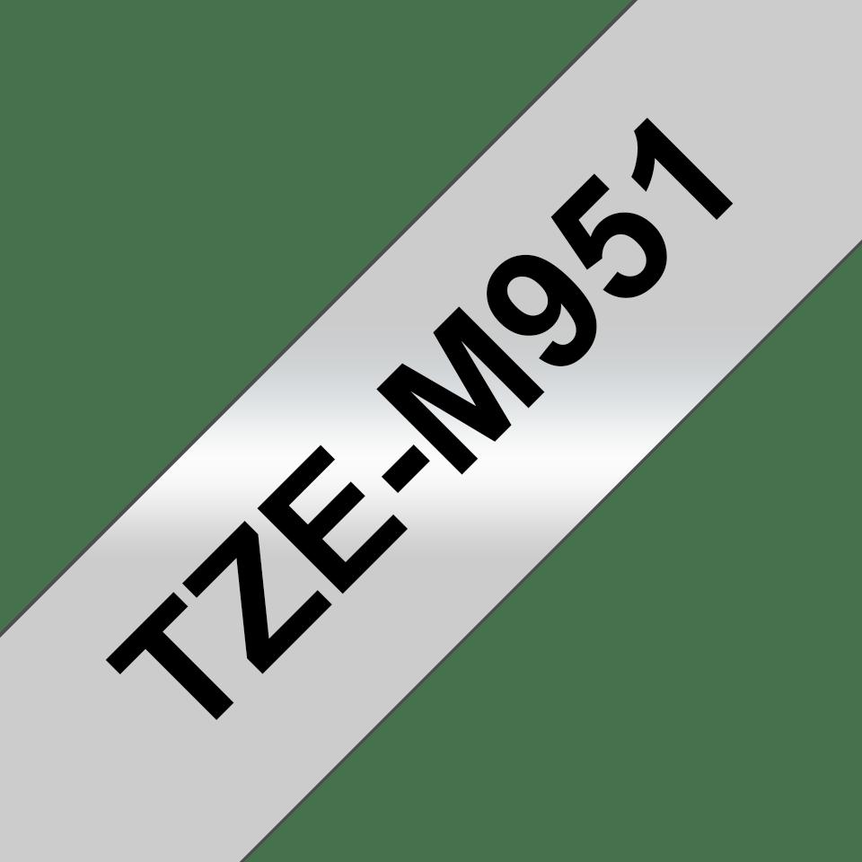 Casetă cu bandă de etichete originală Brother TZe-M951 – negru pe gri mată, lățime de 24mm