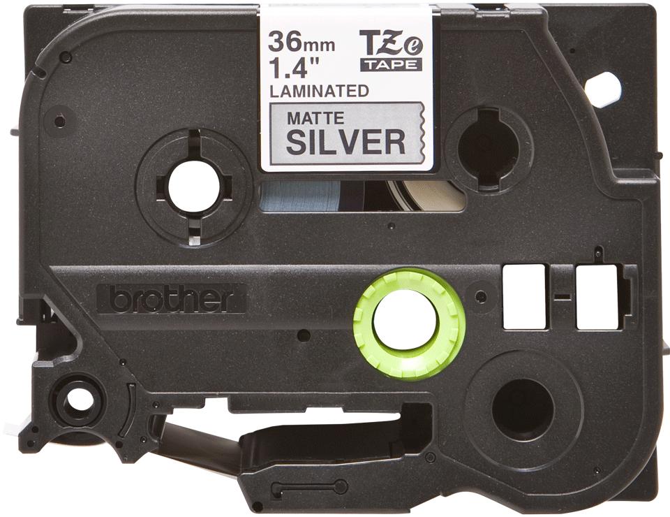 Casetă cu bandă de etichete originală Brother TZe-M961 – negru pe argintiu mată, lățime de 36mm