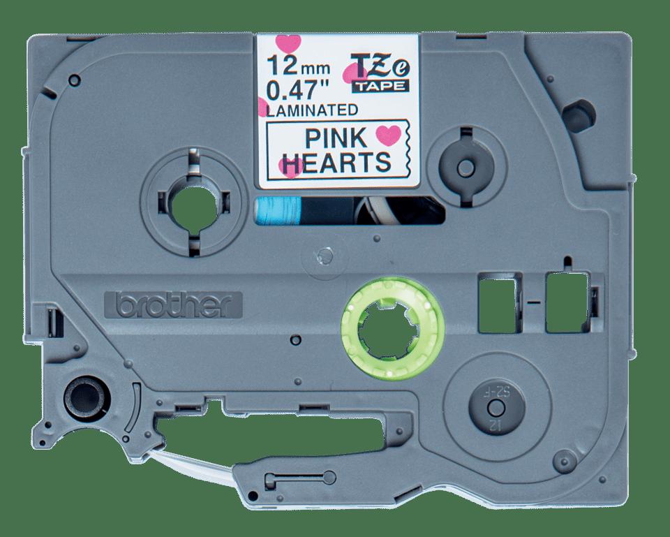 Casetă cu bandă de etichete originală Brother TZe-MPPH31 – negru pe inimi roz, lățime de 12mm 2