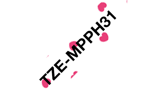 Casetă cu bandă de etichete originală Brother TZe-MPPH31 – negru pe inimi roz, lățime de 12mm 3