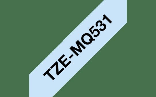 Casetă cu bandă de etichete originală Brother TZe-MQ531 – negru pe albastru pastel, lățime de 12mm 3