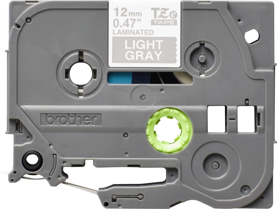 Bandă de etichete originală Brother TZe-MQL35 – alb pe gri, lățime de 12mm 2