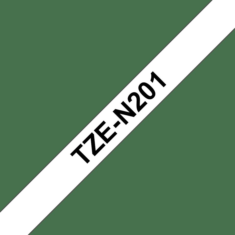 Casetă cu bandă de etichete originală Brother TZe-N201 – negru pe alb, lățime de 3,5mm 3