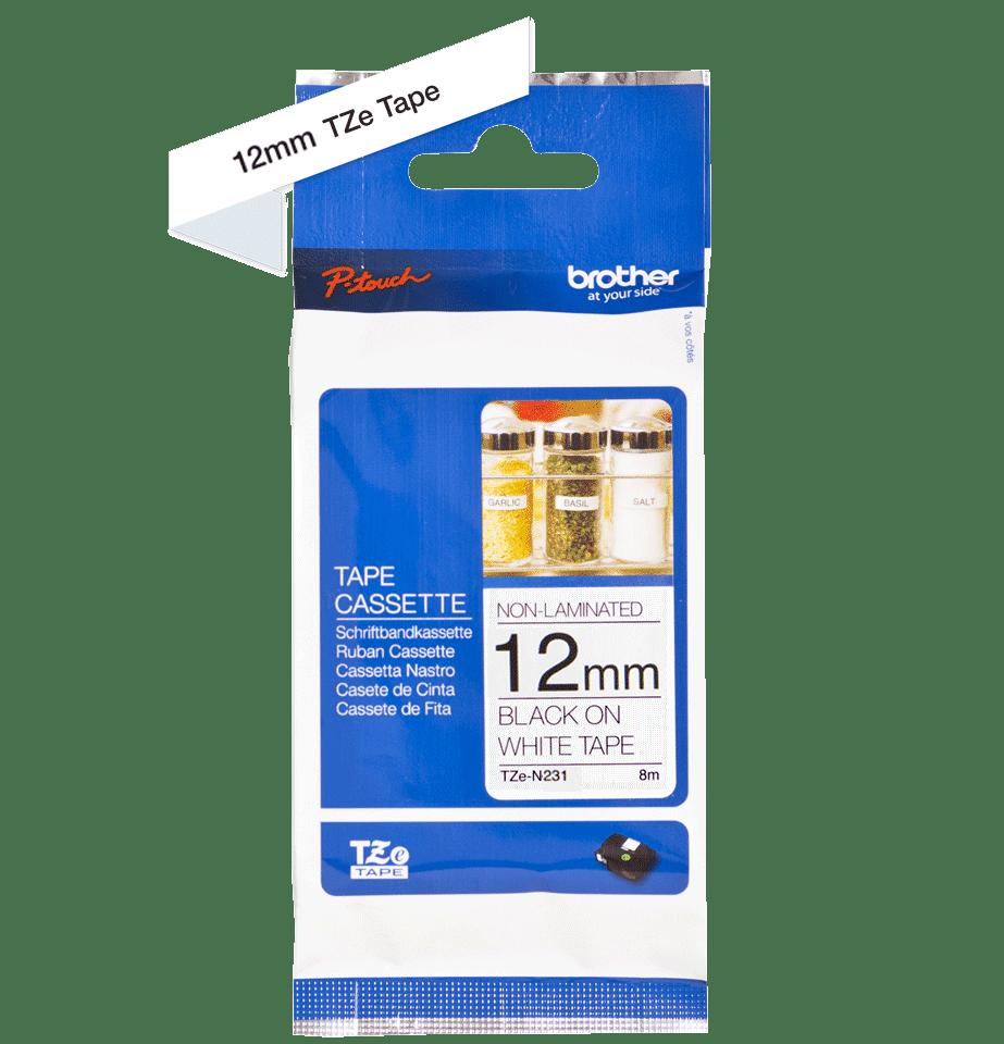 Casetă cu bandă de etichete originală Brother TZe-N231 – negru pe alb, lățime de 12mm 2