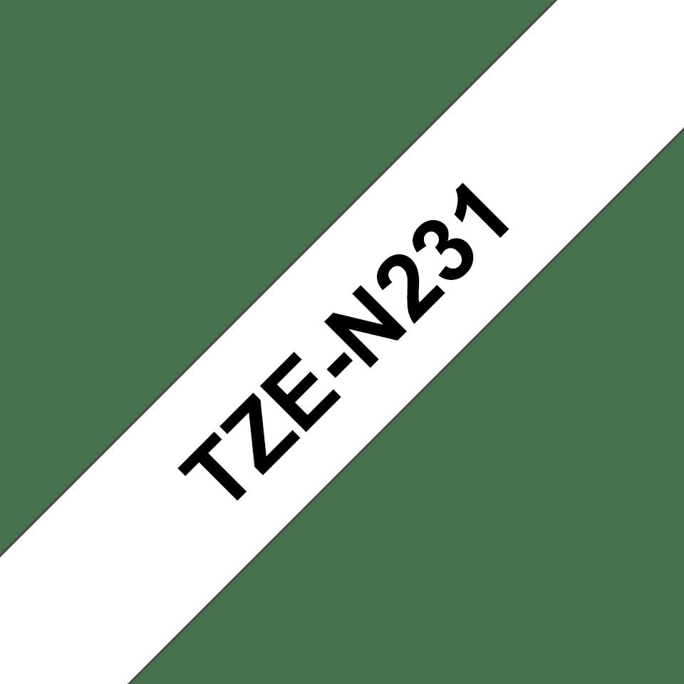 Casetă cu bandă de etichete originală Brother TZe-N231 – negru pe alb, lățime de 12mm 3