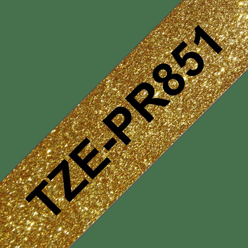 Casetă cu bandă de etichete originală Brother TZe-PR851 – negru pe auriu sclipitor, lățime de 24mm 3