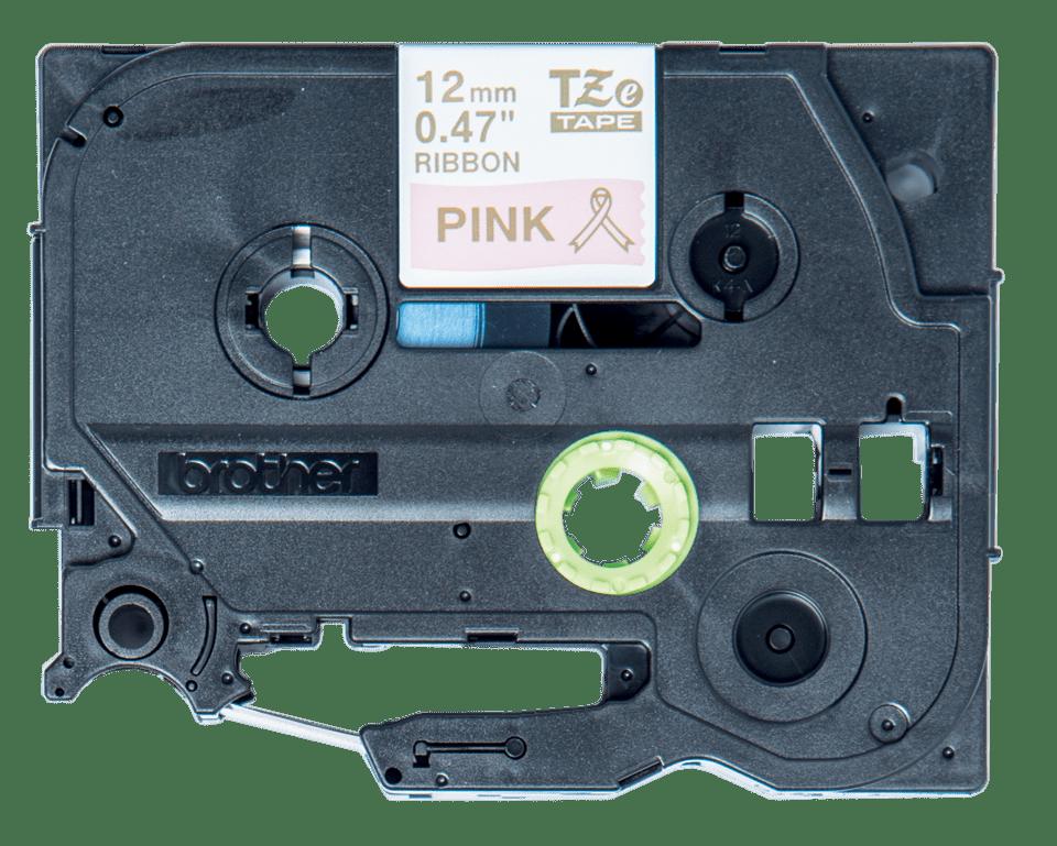 Casetă cu bandă decorativă originală Brother TZe-RE34 – auriu pe roz, 12mm lățime 2