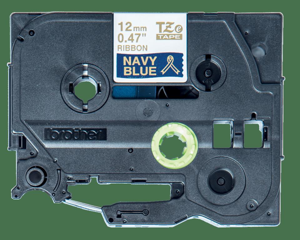 Casetă cu bandă decorativă originală Brother TZe-RN34 – auriu pe albastru naval 12mm lățime 3