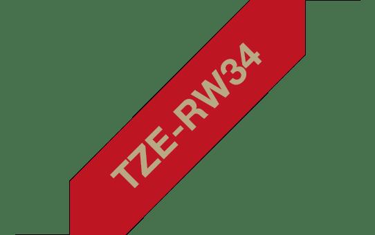 Casetă cu bandă decorativă originală Brother TZe-RW34 – auriu pe roșu bordeaux de 12mm lățime 3
