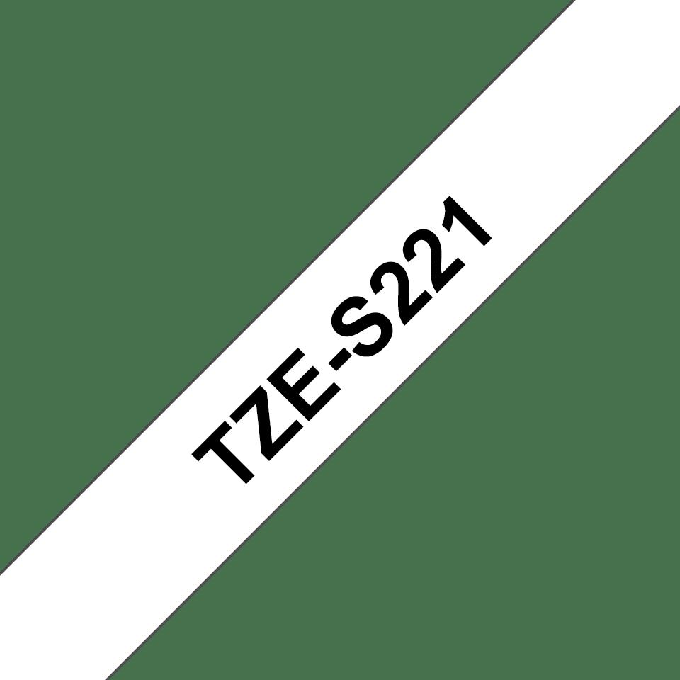 Casetă cu bandă de etichete originală Brother TZe-S221 – negru pe alb, lățime de 9mm