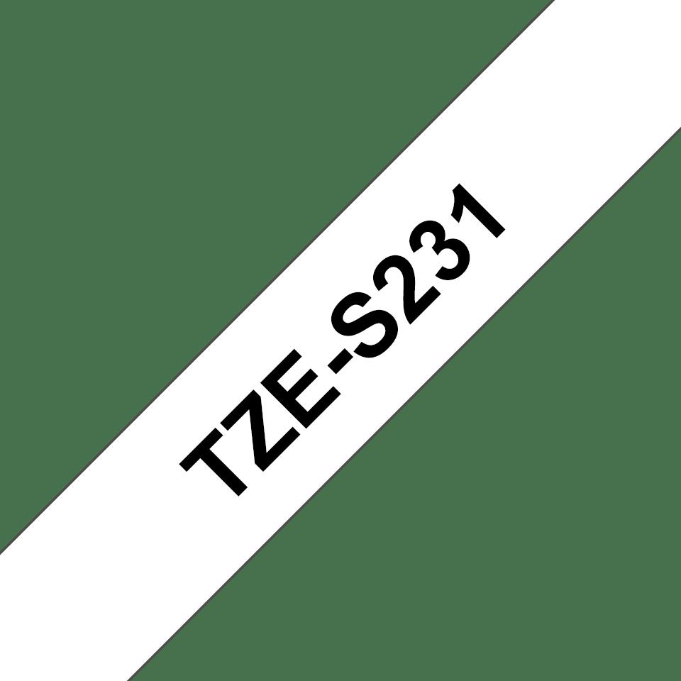 Casetă cu bandă de etichete originală Brother TZe-S231 – negru pe alb, lățime de 12mm