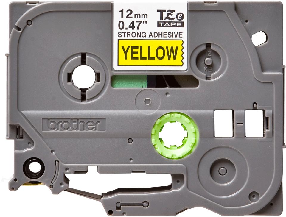 Casetă cu bandă de etichete originală Brother TZe-S631 – negru pe galben, lățime de 12mm