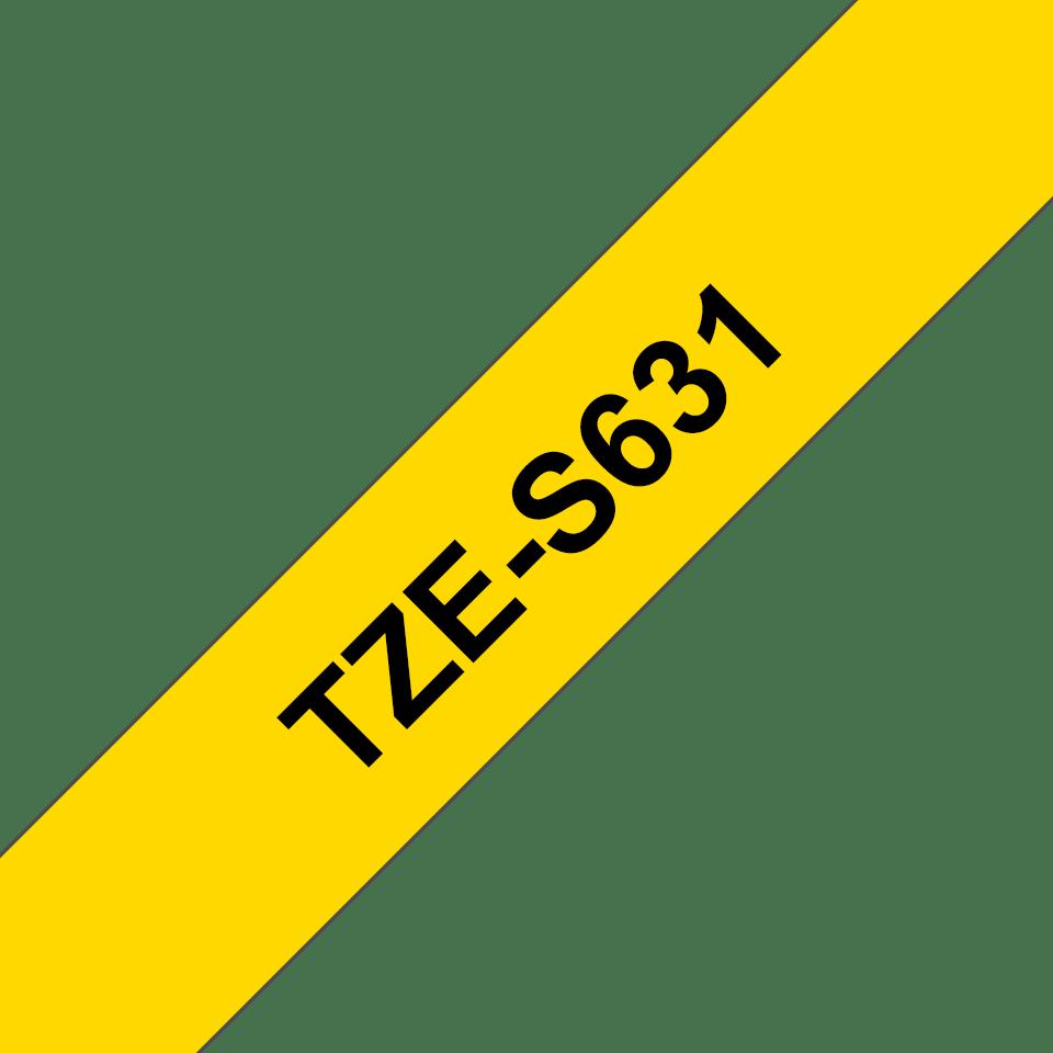 Casetă cu bandă de etichete originală Brother TZe-S631 – negru pe galben, lățime de 12mm 3