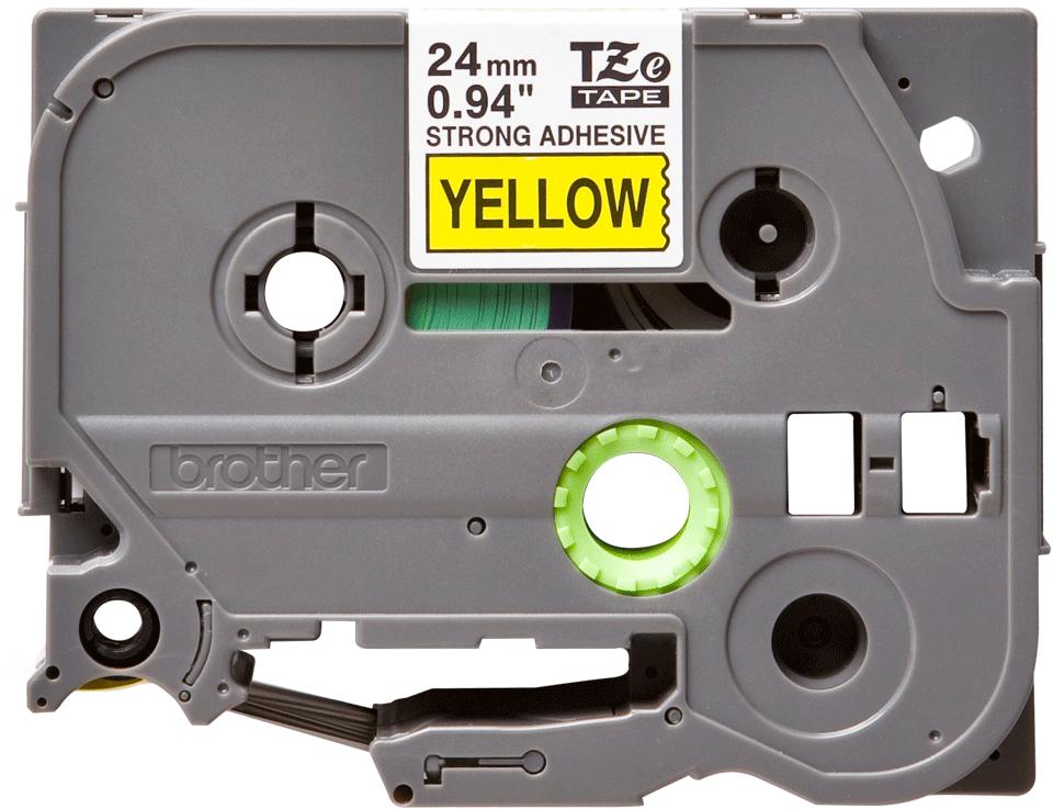 Casetă cu bandă de etichete originală Brother TZE-S651 – negru pe galben, lățime de 24mm