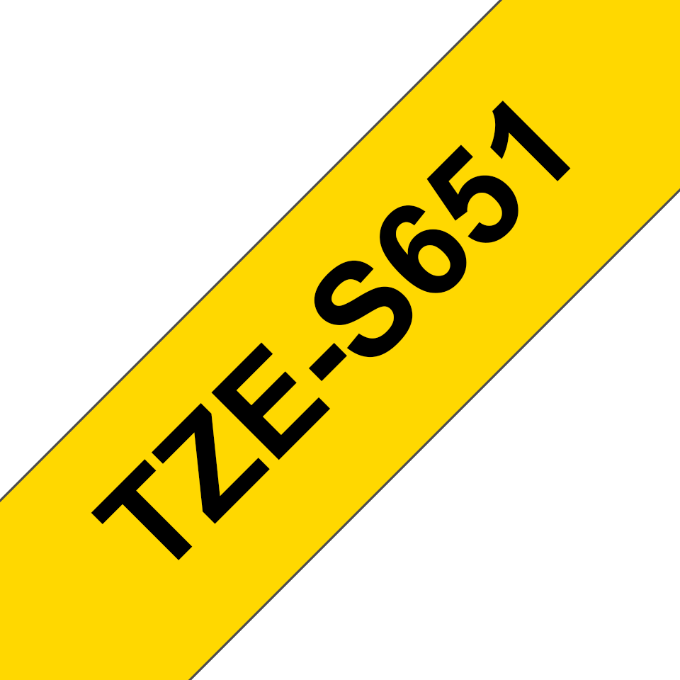 Casetă cu bandă de etichete originală Brother TZE-S651 – negru pe galben, lățime de 24mm 3