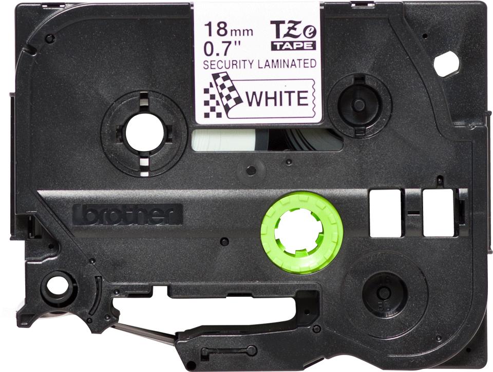Casetă cu bandă de etichete originală Brother TZe-SE4 – negru pe alb, lățime de 18mm