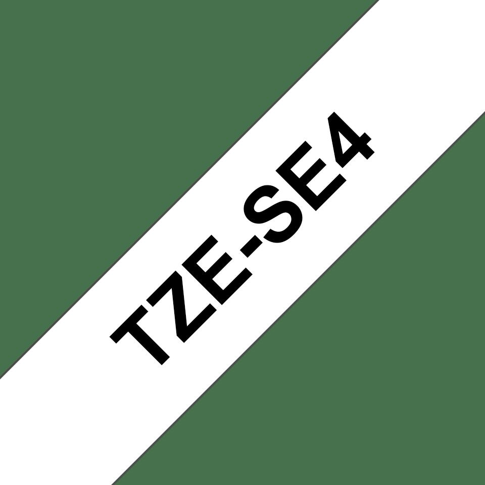 Casetă cu bandă de etichete originală Brother TZe-SE4 – negru pe alb, lățime de 18mm 3